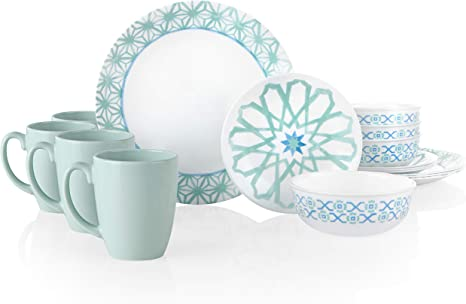 Amazon Com Corelle Amalfi Verde Chip Break Resistant 16pc Dinner Set Service For 4 Dinnerware Sets