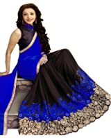 Mira Fashion Women's Georgette Saree With Blouse Piece (Mf-702, Blue, Free Size)