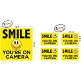 "Smile Your On Camera - Security Signs - Includes (1) 10""x10"" inch & (4) 3.5""x 2.8"" inch stickers - Security Stickers - Home Security - Video Surveillance Signs - Vandalism Robbery & Theft Prevention"
