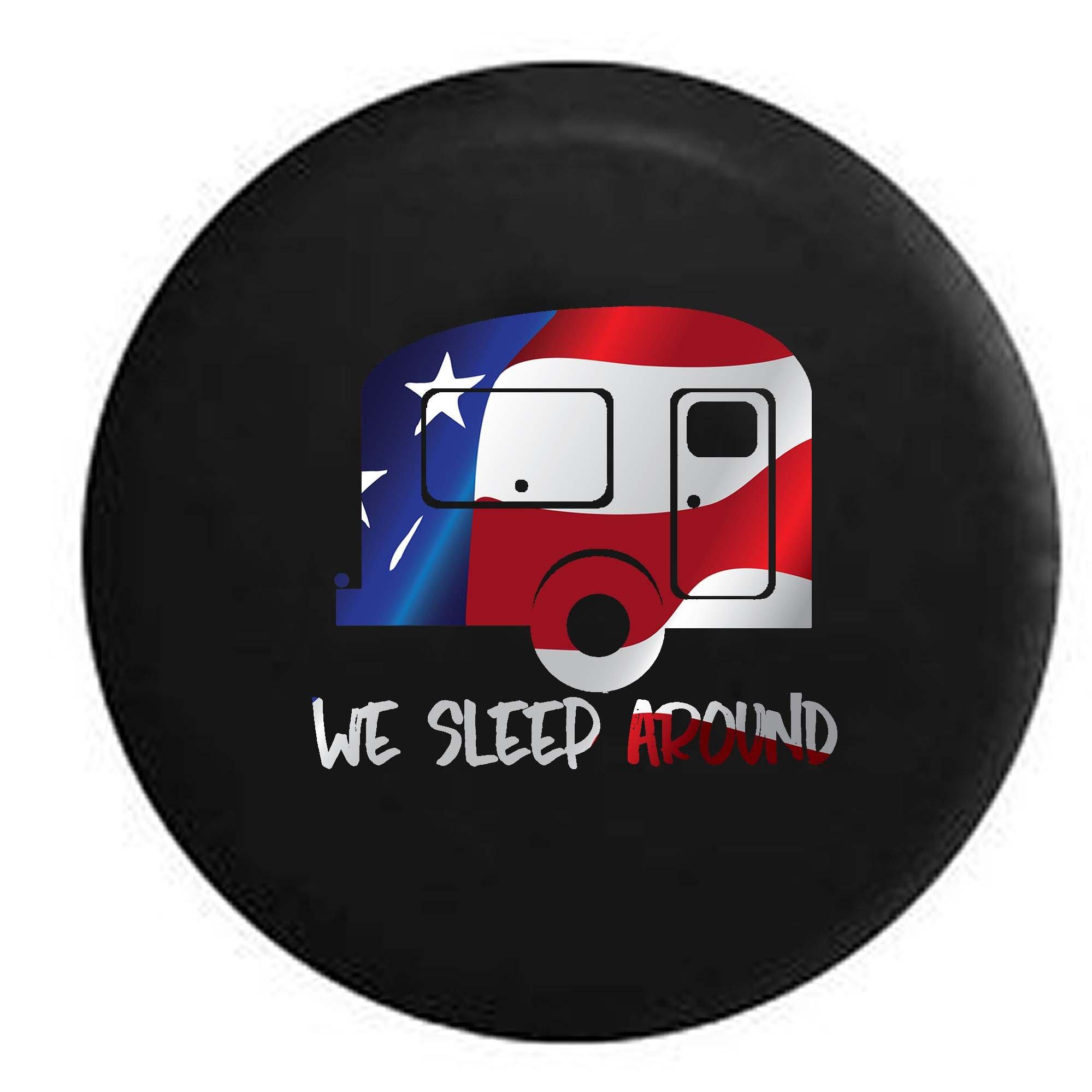 Flag - We Sleep Around Travel Trailer RV Camper Spare Tire Cover OEM Vinyl Black 30 in
