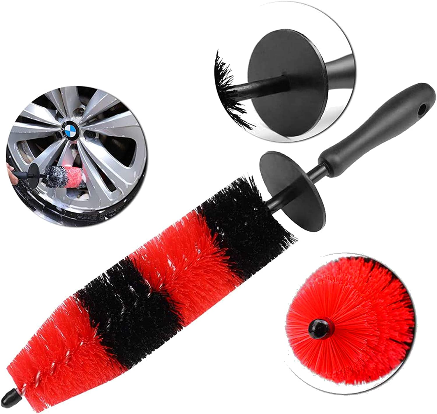 Wheel Brush Detail Rim Car Cleaner with Long Handle Soft Bristle Motorcycle one