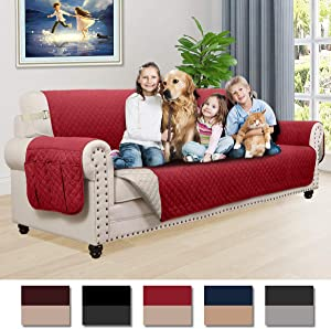 Honest Reversible Sofa Slipcover, Water Resistant Couch Cover with Side Pockets,Washable Sofa Cover Furniture Protector with Elastic Straps for Pets Kids Children Dog(Sofa 70, Burgundy&Beige)