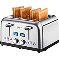 4 Slice Toaster, IKICH Prime Rated Toaster Stainless Steel [Digital Countdown] Toasters(6 Bread Shade Settings, Bagel/Defrost/Reheat/Cancel Function, 4 Slots, Removable Crumb Tray, 1500W)