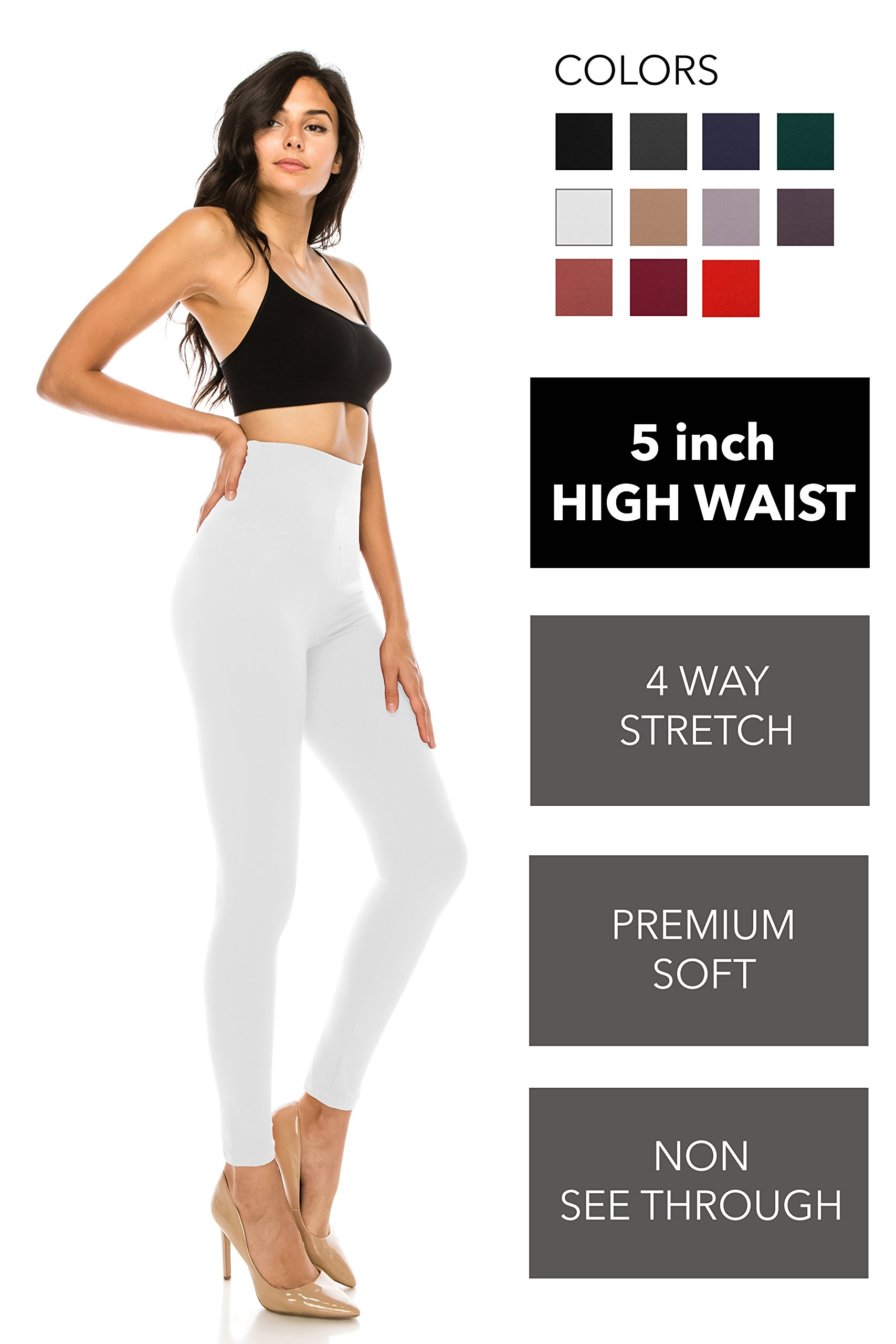 ALWAYS Leggings Women High Waist - Premium Buttery Soft Yoga Workout Stretch Solid Pants White One Size