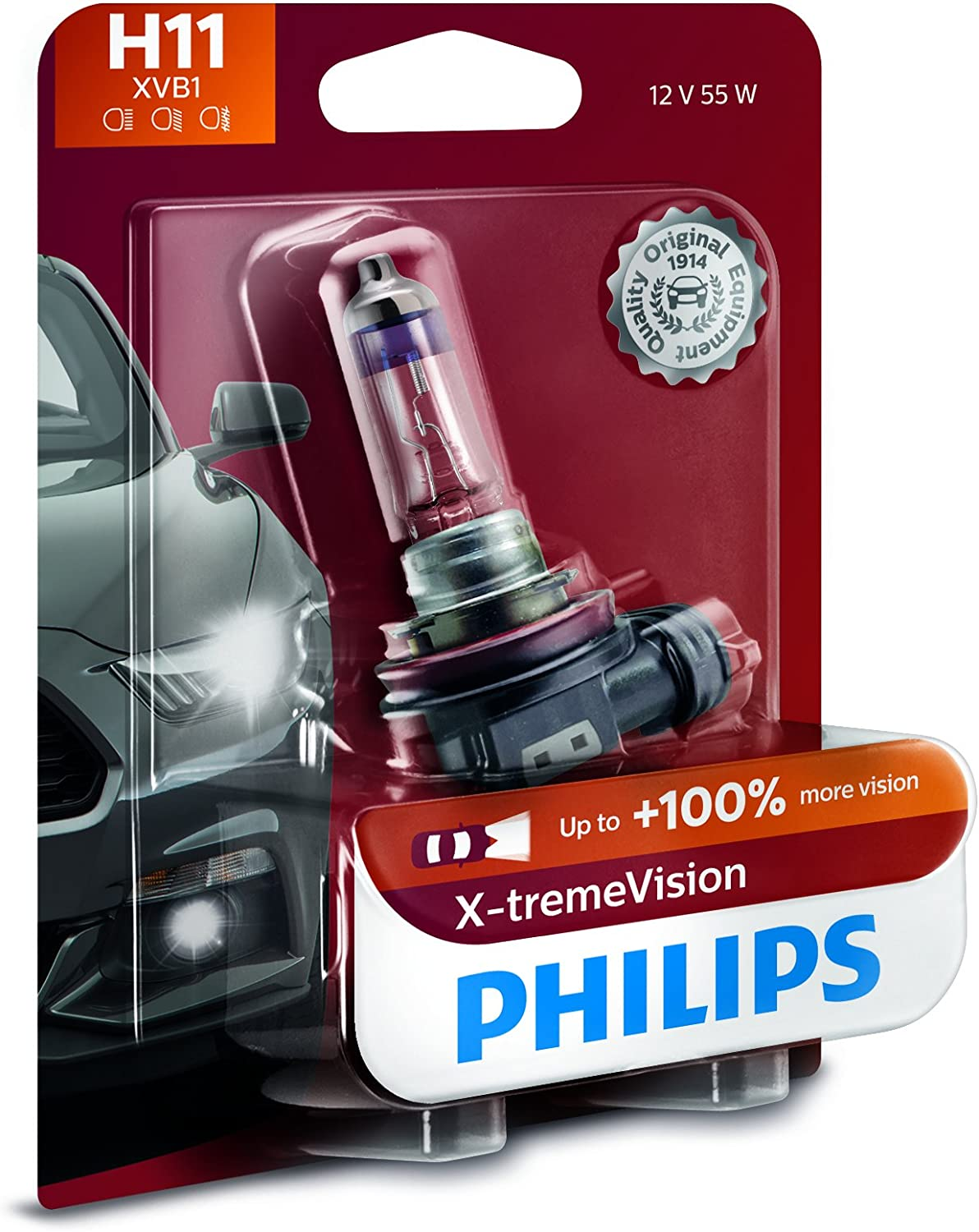 Philips 12362XVB1 H11 X-tremeVision Upgrade Headlight Bulb with up to 100% More Vision, 1 Pack