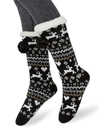 06838ae0e2a MaaMgic Femme Fille Christmas Noël Chaussettes Slipper Antidérapantes  d hiver Chaud en Polair Douce Chaussons
