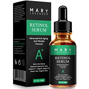 MaryLavender Retinol Serum 2.5% for Face and Eye with Hyaluronic Acid,Vitamin E,Green Tea, Wheat Gem Oil,Anti Aging Anti Wrinkles Facial Serum Reduce wrinkles Fine Lines,Dark Spots, Pores,Acne,1 fl oz