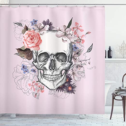 Pink Flower Skull Shower Curtain Bath Mat Toilet Cover Rug Bathroom Decor Set