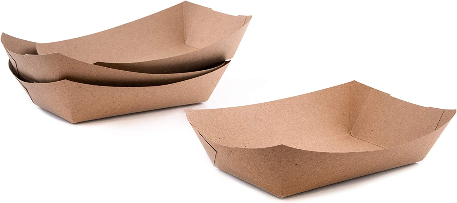 PaperMi Brown Paper Food Tray Disposable Kraft Hot Dog Tray, Paper Food Trays for Picnics, Carnivals, Camping - Food Serving Tray Holds Hot and Cold Food- USA Made (1Lb 100pc)