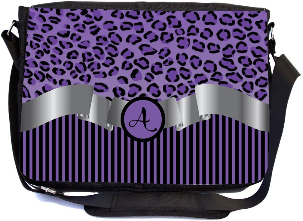 "Rikki Knight Letter ""A"" Purple Leopard Print Stripes Monogrammed Design Multifunctional Messenger Bag - School Bag - Laptop Bag - Includes Matching Compact Mirror 60%OFF"