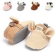 Baby Boys Girls Slipper Cozy Fleece Booties Non-Slip Bottom Winter Socks Unisex Pram Soft Sole Infant First Walker Crib House Shoes (6-12 Months M US Infant), C-Khaki