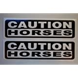 """(Set of 2) Caution Horses Stickers Vinyl Decals Choose A Color and Size!! 10""""-36""""Truck Trailer Horse Draft Mini Pony Cowgirl"""