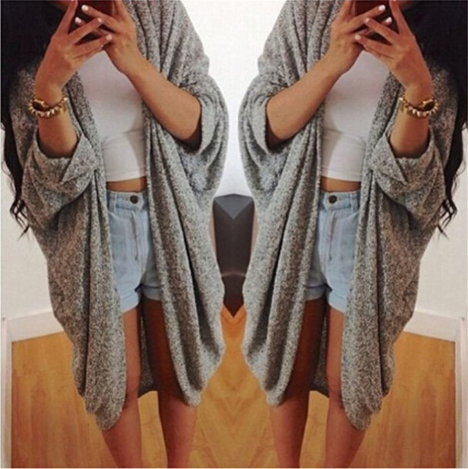 EMIN Women's Print Drape Open Front Drape Boyfriend Cardigan Sweaters Knited Sweater Coat Outwear
