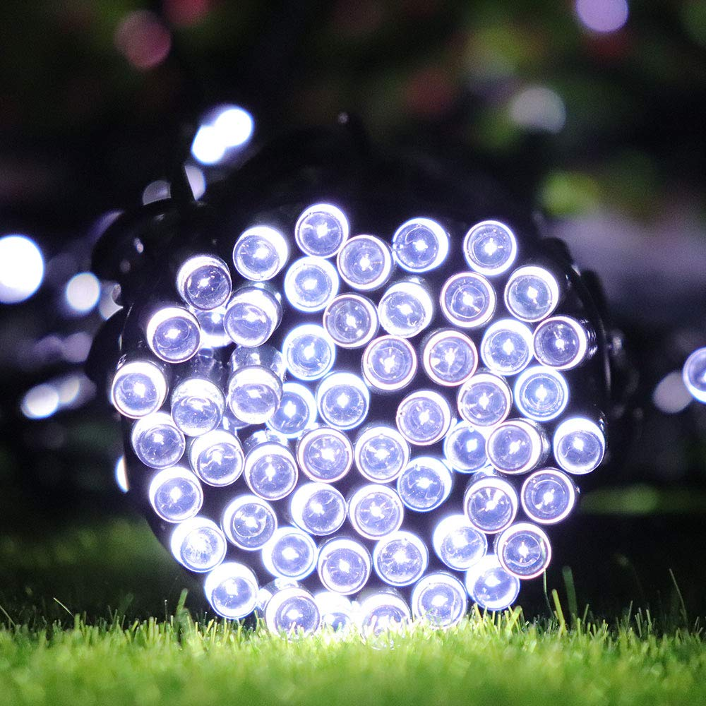 Lalapao 2 Pack Solar String Lights 72ft 22m 200 LED 8 Modes Solar Powered Xmas Outdoor Lights Waterproof Starry Christmas Fairy Lights for Indoor Gardens Homes Wedding Holiday Party White