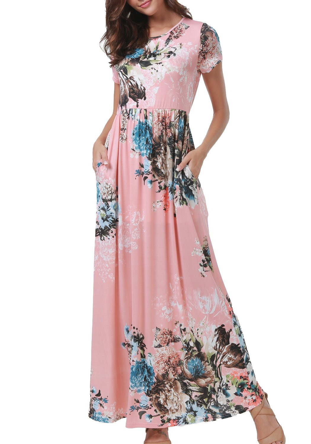 Simier Fariry Women Summer Short Sleeve Floral Print Casual Long Maxi Dress Pink M