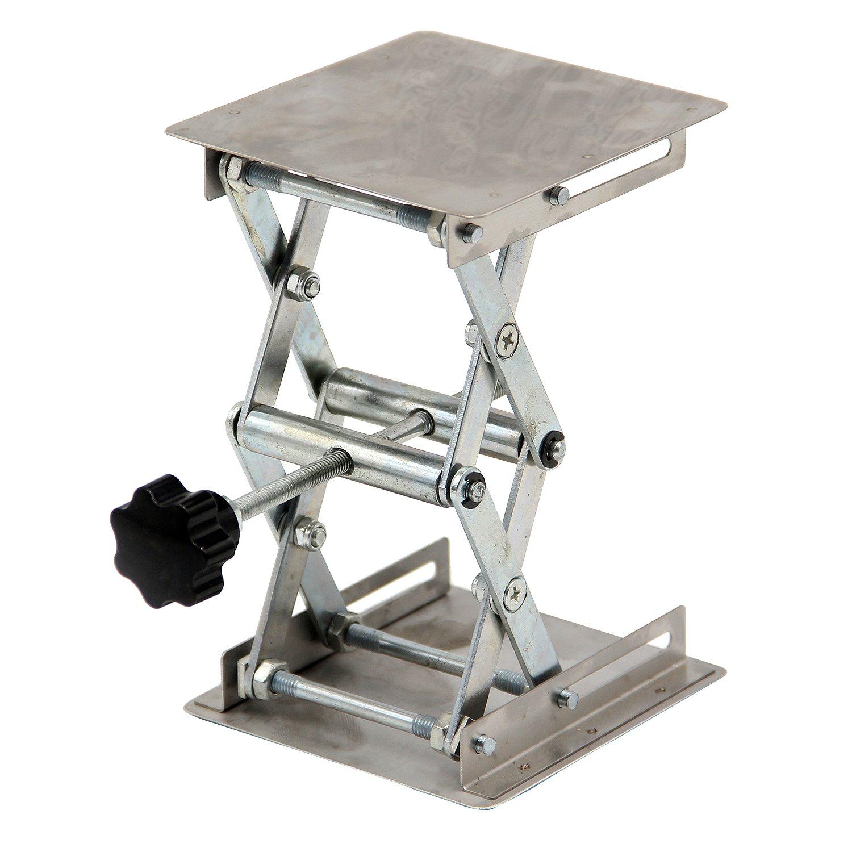 HFS(R) 4'' x 4'' 100mm Stainless Steel Lab Jack Scissor Stand Platform 3kg/6.6lbs Load Bearing 3kg/6.6lbs