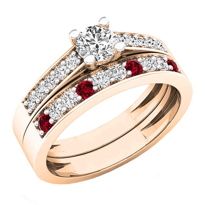 Amazon 18k Gold Round Lab Created Ruby White Diamond Ladies Bridal Wedding Ring Set Jewelry: Ruby Wedding Ring Set 18k At Reisefeber.org