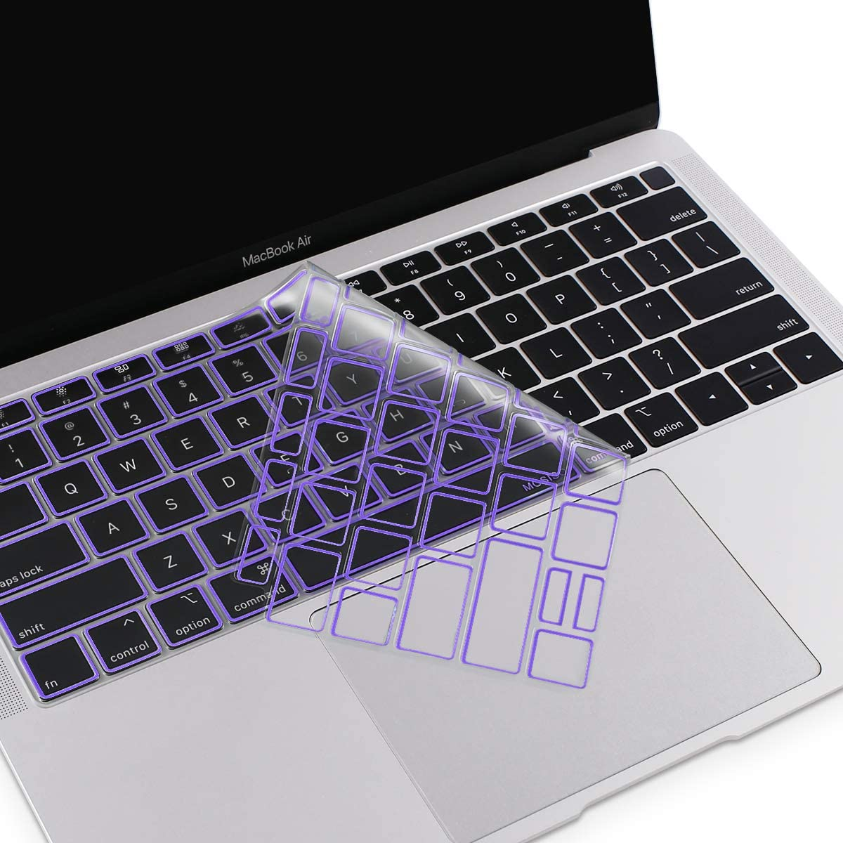 MOSISO Premium Ultra Thin TPU Keyboard Cover Compatible with MacBook Air 13 inch 2019 2018 Release A1932 Retina Display with Touch ID, Soft Protective Transparent Skin Protector, Ultra Violet