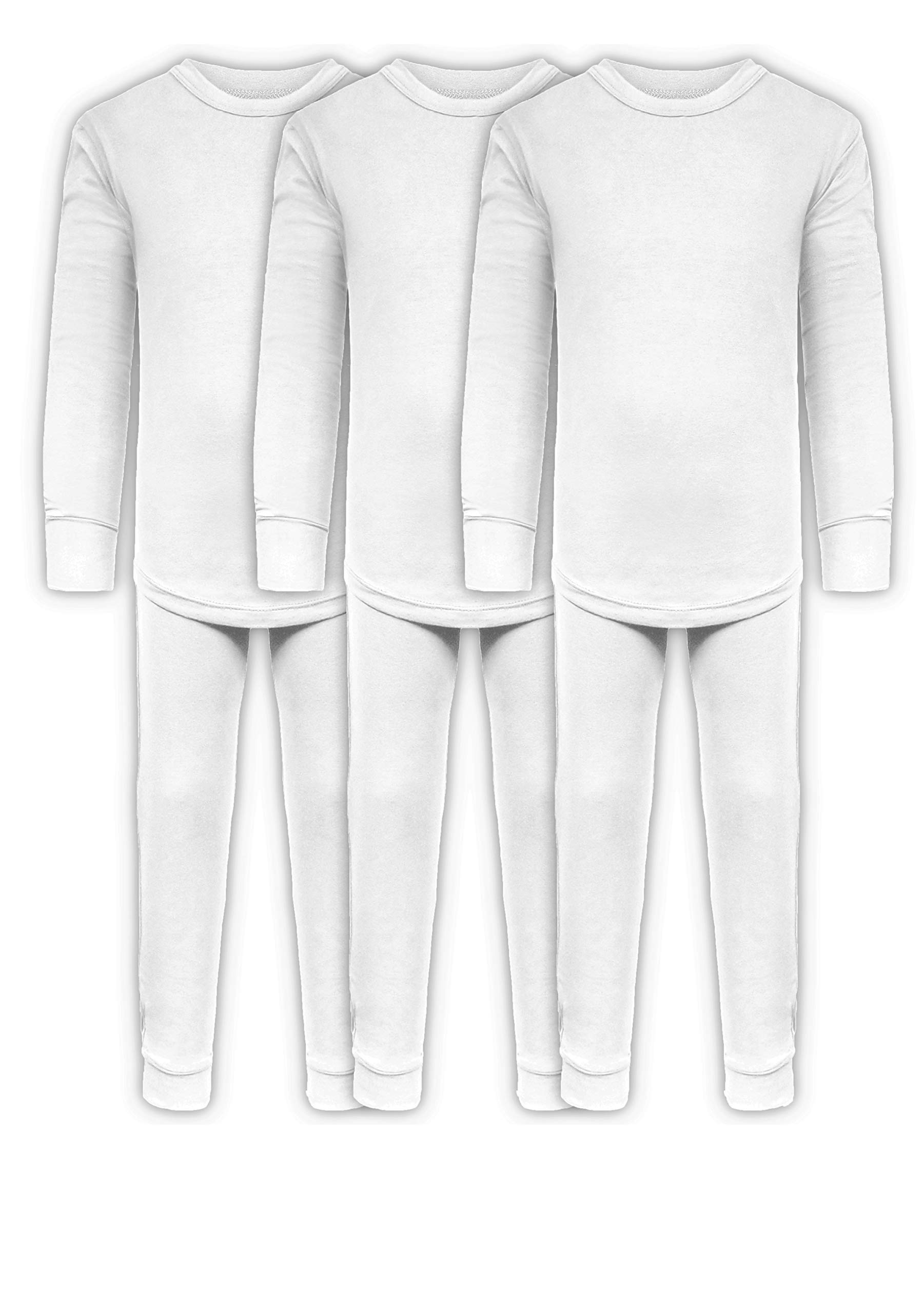 Boys Long John Ultra-Soft Cotton Stretch Base Layer Underwear Sets / 3 Long Sleeve Tops + 3 Long Pants - 6 Piece Mix & Match (3 Sets / 6 Pc -White, 5/6) by ANDREW SCOTT