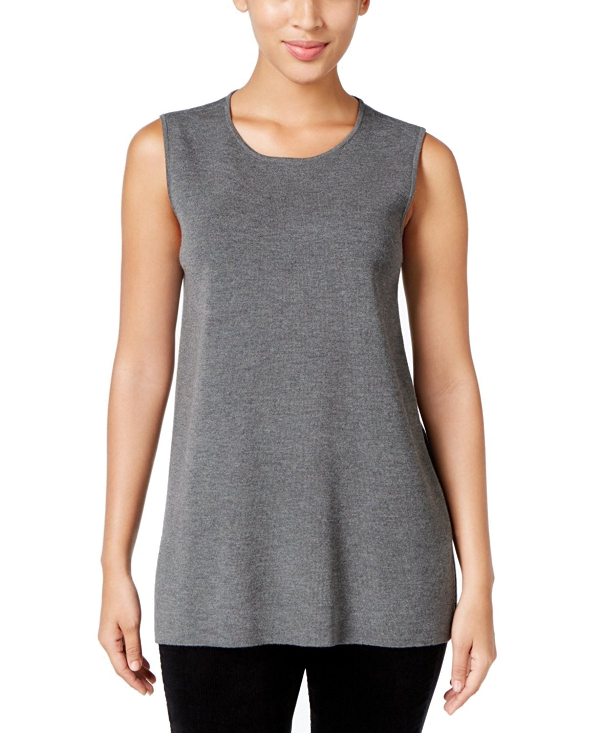 Eileen Fisher Women's Roundneck Long Wool Crepe Shell (X-Small, Ash Grey)