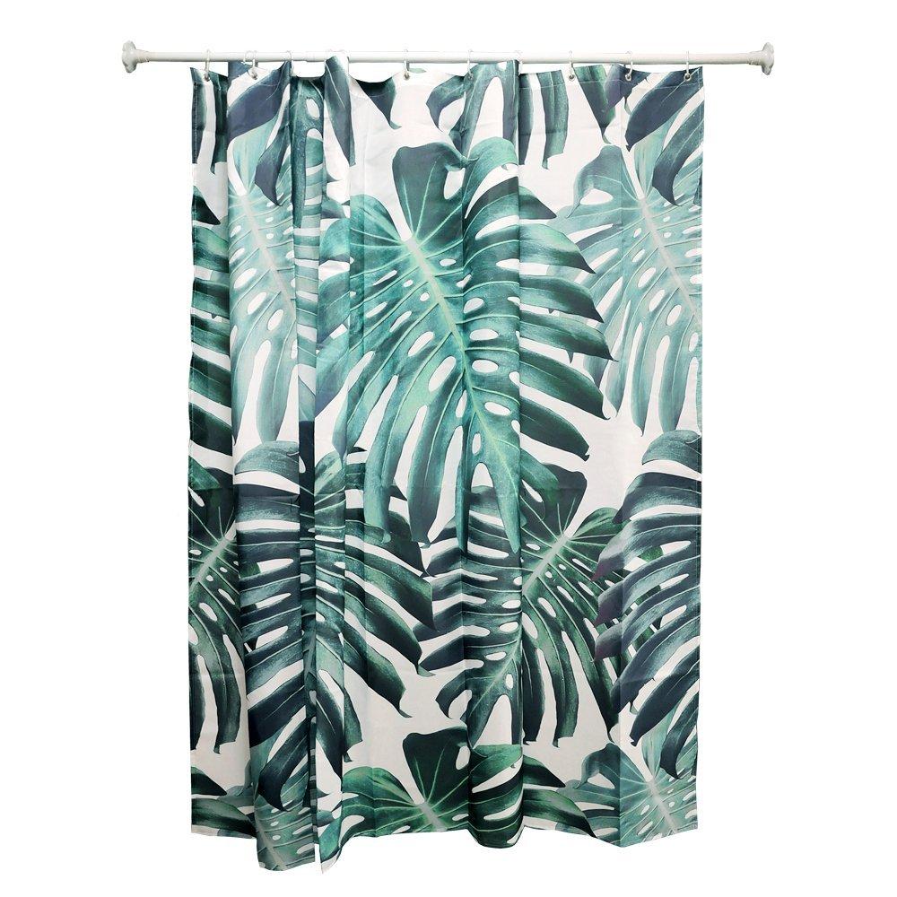 con 12 ganchos Colour Kingdom Plantas cortina de ducha Impermeable y resistente al moho decoraci/¨/®n del ba?o