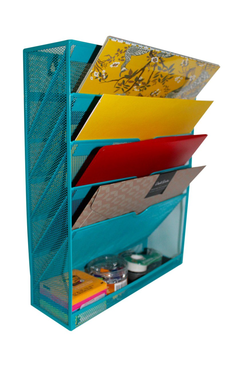 Mesh Cascading Wall File Holder Organizer | Mounted Hanging Mail Rack | 5 Compartments - (Teal)