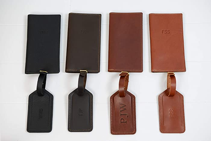 7e36bc454d5 Amazon.com  Personalized Leather Travel Wallet + Luggage Tag Gift Set
