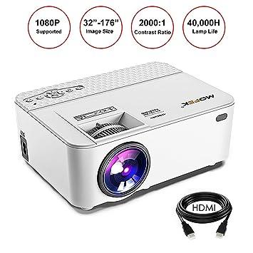 LCD Mini Proyector 1800 Lumens, mofek Full HD Proyector con ...