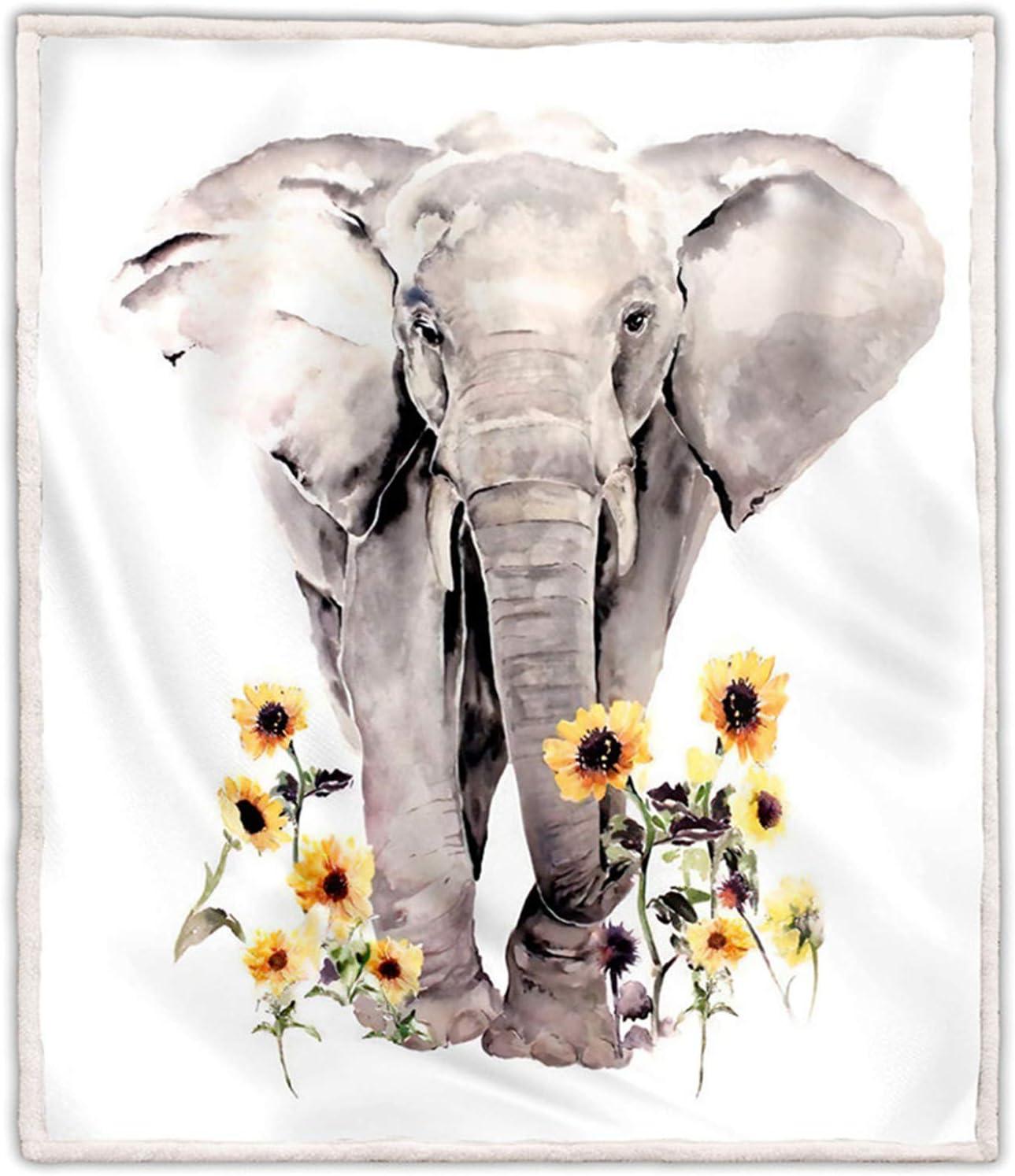 """LOVINSUNSHINE Sunflower Elephant Blanket Sherpa Throw Sunflower Elephant Blanket Plush for Women Sunflower Elephant Blankets for Adults 50"""" X 60"""" - 036."""