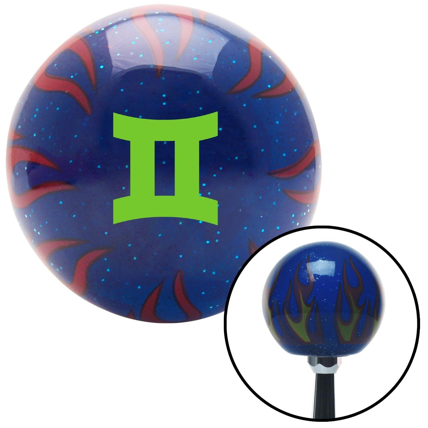 Green Gemini Blue Flame Metal Flake with M16 x 1.5 Insert American Shifter 297993 Shift Knob