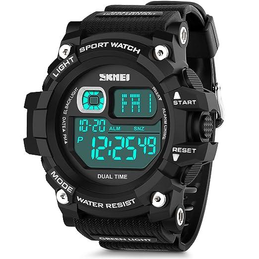 aposon reloj para hombre reloj deportivo militar LED Digital Alarma Reloj de pulsera números grandes unique ...