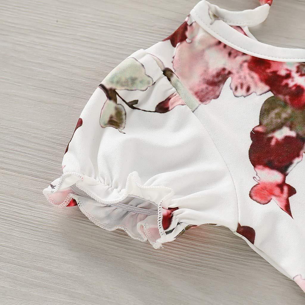 JUTOO Neugeborenes Kleinkind-Baby scherzt M/ädchen Geraffte R/üschen-Blumenblumen-Prinzessin Dresses Clothes