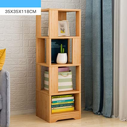 HMDX Wood Storage Bookcase Corner Bookshelf Tall Narrow Contemporary Display Rack For Home Office Yellow