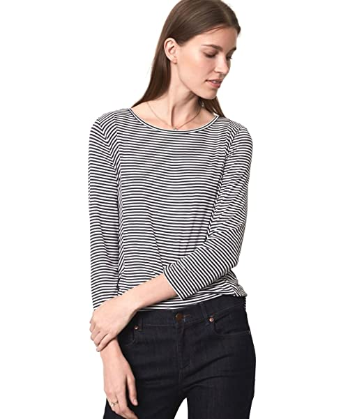 d721d5044566 Ann Taylor LOFT - Women's - Striped 3/4 Sleeve Rayon Jersey Knit Top - Tee  at Amazon Women's Clothing store: