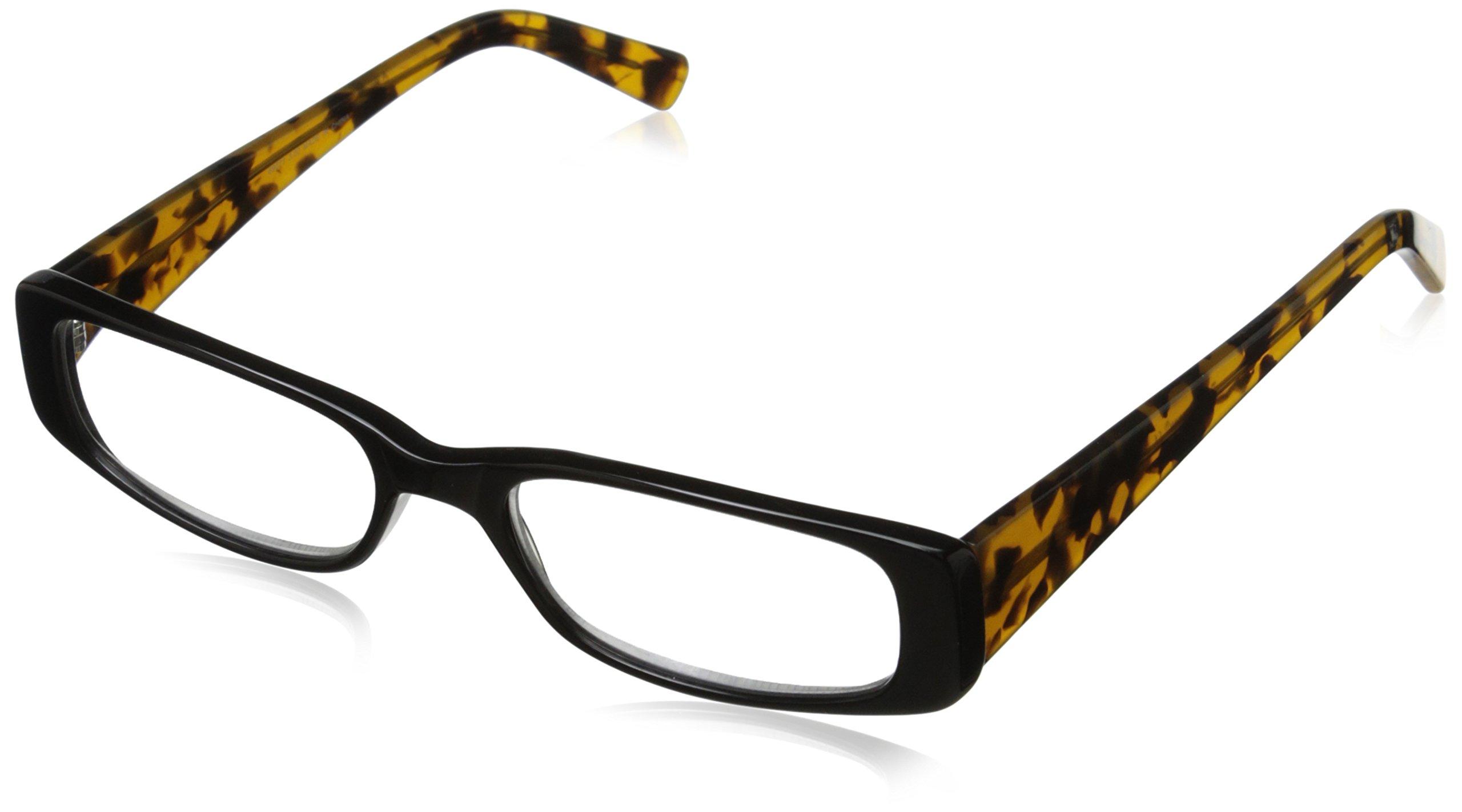 A.J. Morgan Women's Tammy Rectangular Reading Glasses, Black & Tortoise, 3