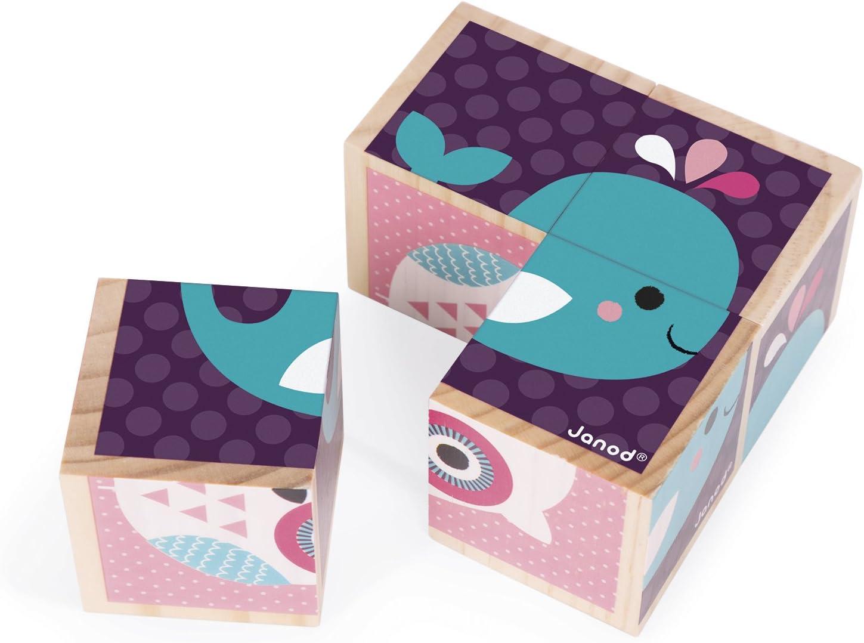 B/éb/és Animaux bois Janod Mes Premiers Cubes J08001