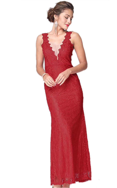 Ecowish Damen Elegant Sommer Trägerkleid Rückenfrei Tiefer V-Ausschnitt Cocktailkleid Langes Kleid