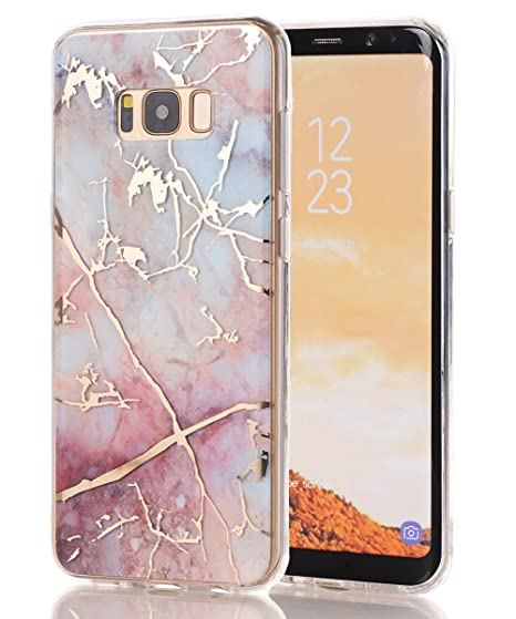 detailed look 1134d 7a3c1 Galaxy S8 Case,Samsung Galaxy S8 Case,Spevert Marble Pattern Hybrid Hard  Back Soft TPU Raised Edge Ultra-Thin Shock Absorption Scratch Proof Slim ...