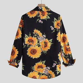 waotier Camisetas de Manga Larga Camisa Estampada de Flores de Manga Larga Casual Estilo Hawaiano para Hombre Blusa Delgada Ajustada: Amazon.es: Ropa y accesorios