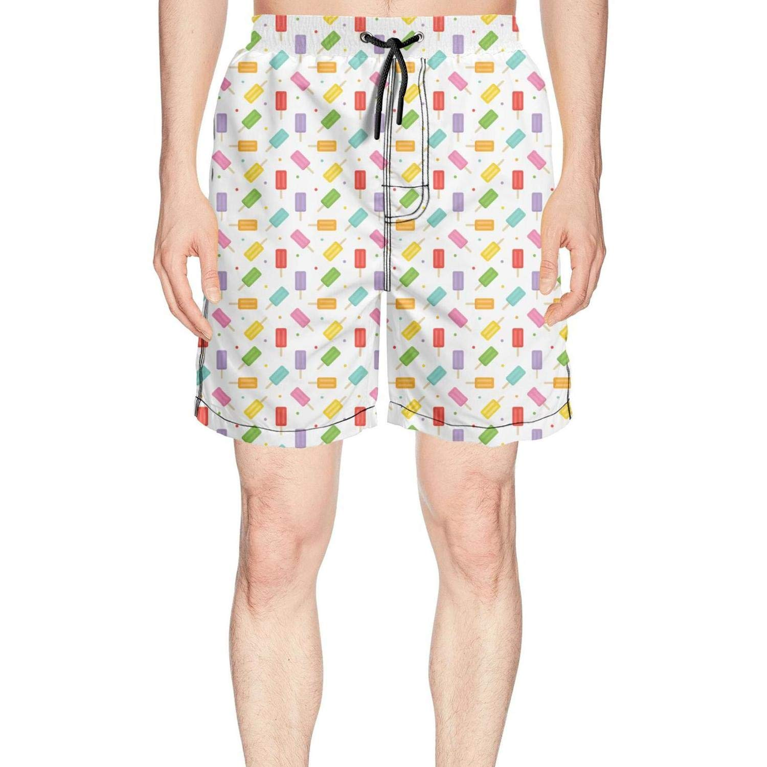 Men's Colorful Ice Cream and Dots Summer Quick Dry Volley Beach Shorts Fashion Swim Trunks
