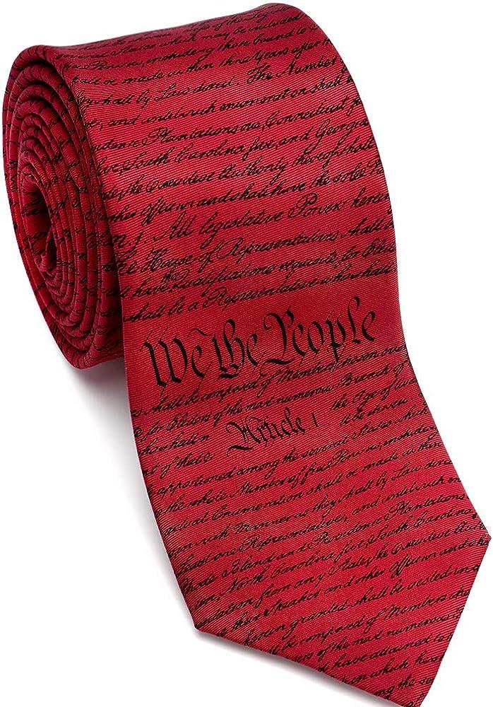 Josh Bach Men's Constitution of United States Silk Necktie, Made in USA