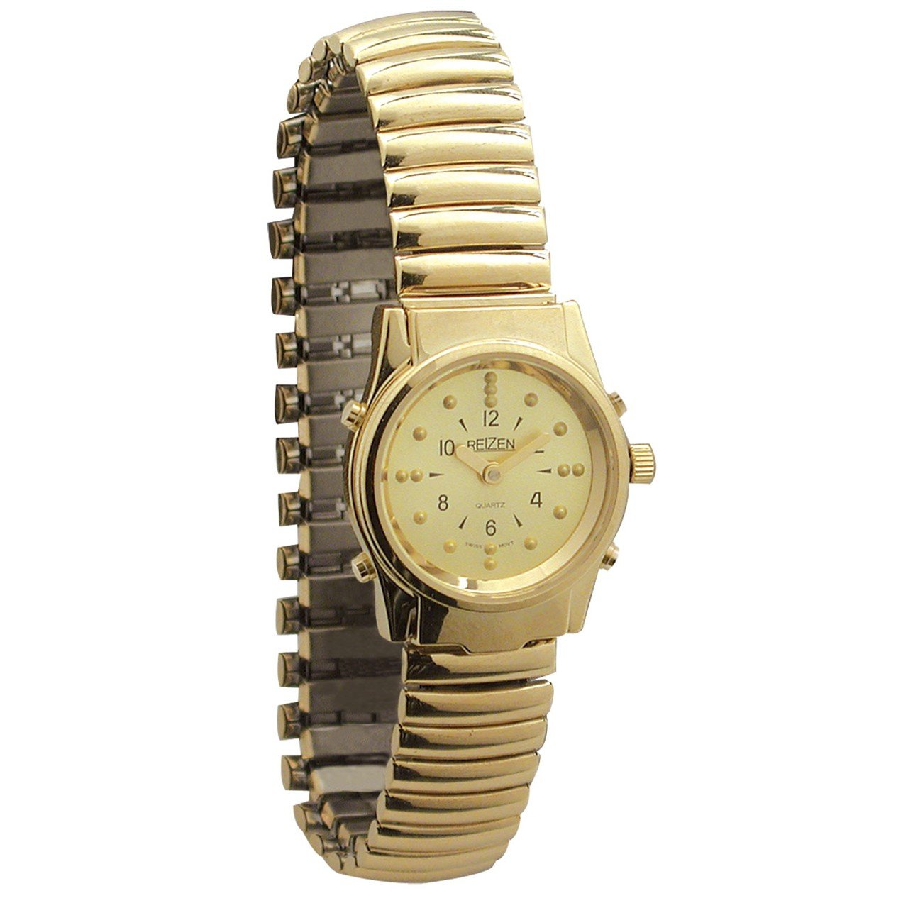Ladies Gold-Tone Braille and Talking Watch - Exp Band by Reizen