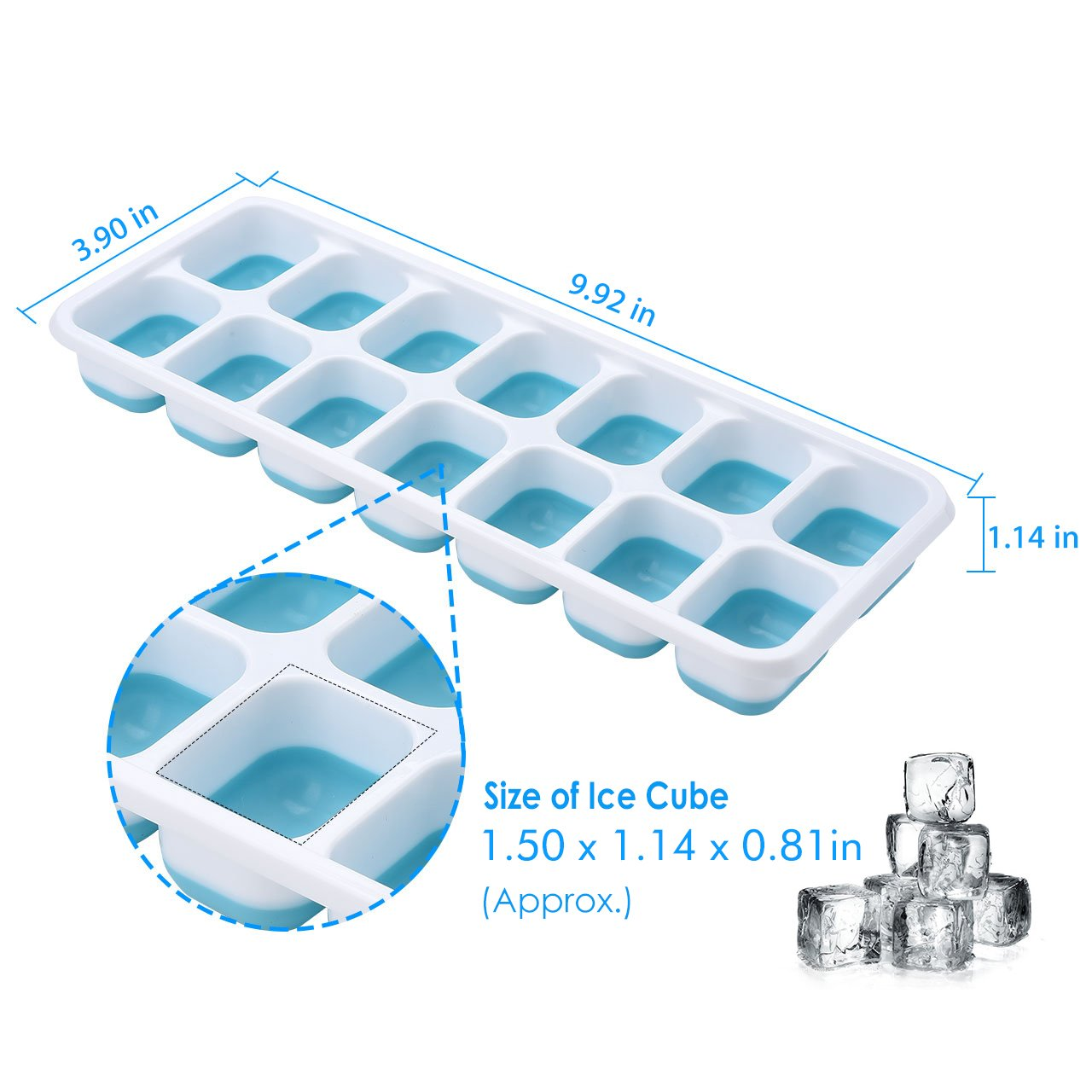 OMorc Ice Cube Trays 4 Pack, Easy-Release Silicone and Flexible 14-Ice Trays with Spill-Resistant Removable Lid, LFGB Certified & BPA Free, Stackable by OMORC (Image #6)