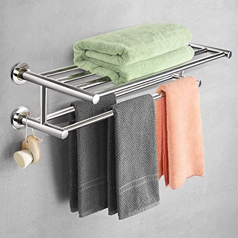 Amazon Com Mascarello Wall Mounted Towel Racks Ra Wall Mounted Towel Rack Bathroom Hotel Rail Holder Storage Shelf Stainless Steel Overall Dimensions 24 L X 9 W X 6 H Silver Home Kitchen