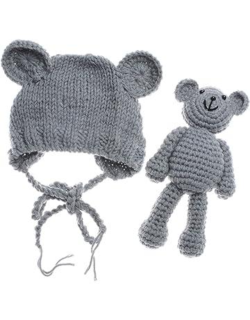 ac2d778b ECYC Newborn Baby Bear Hat Beanie with Bear Dolls Photography Accessories