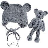 Newborn Baby Bear Hat Beanie with Bear Dolls Photography Accessories