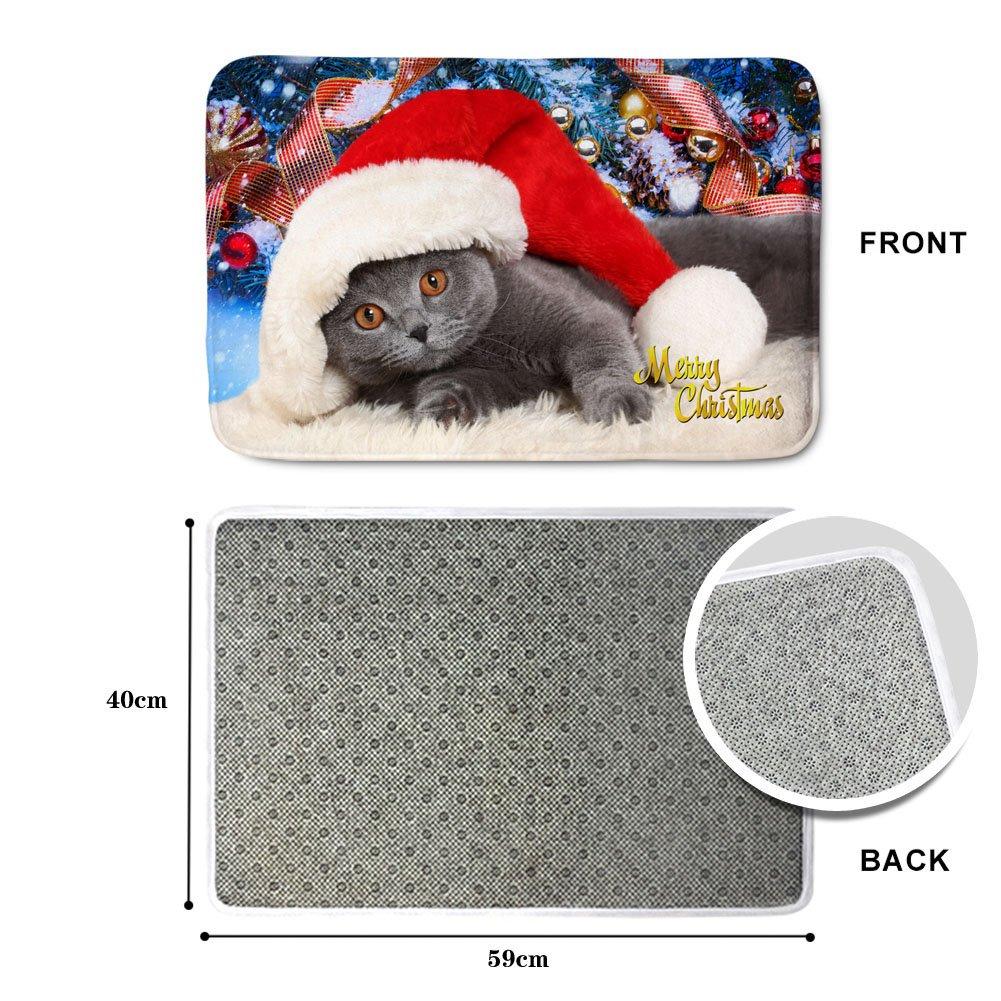 HUGS IDEA Christmas Decor Doormat Anti-Skip Soft Floor Mat for Kitchen Bedroom Living Room British Shorthair