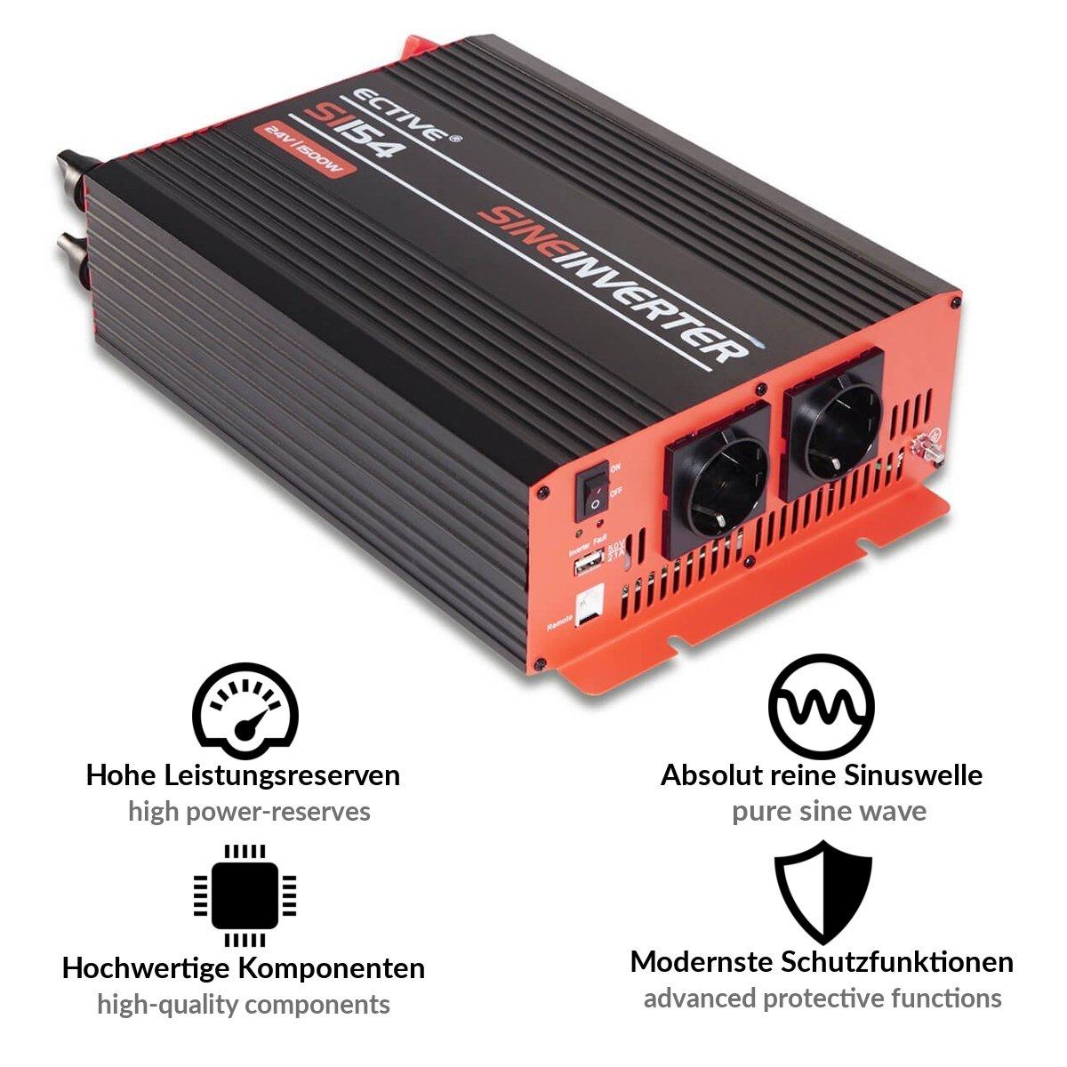 ECTIVE Serie SI caz | Inversor de onda sinusoidal 12V a 230V | 1500W ...