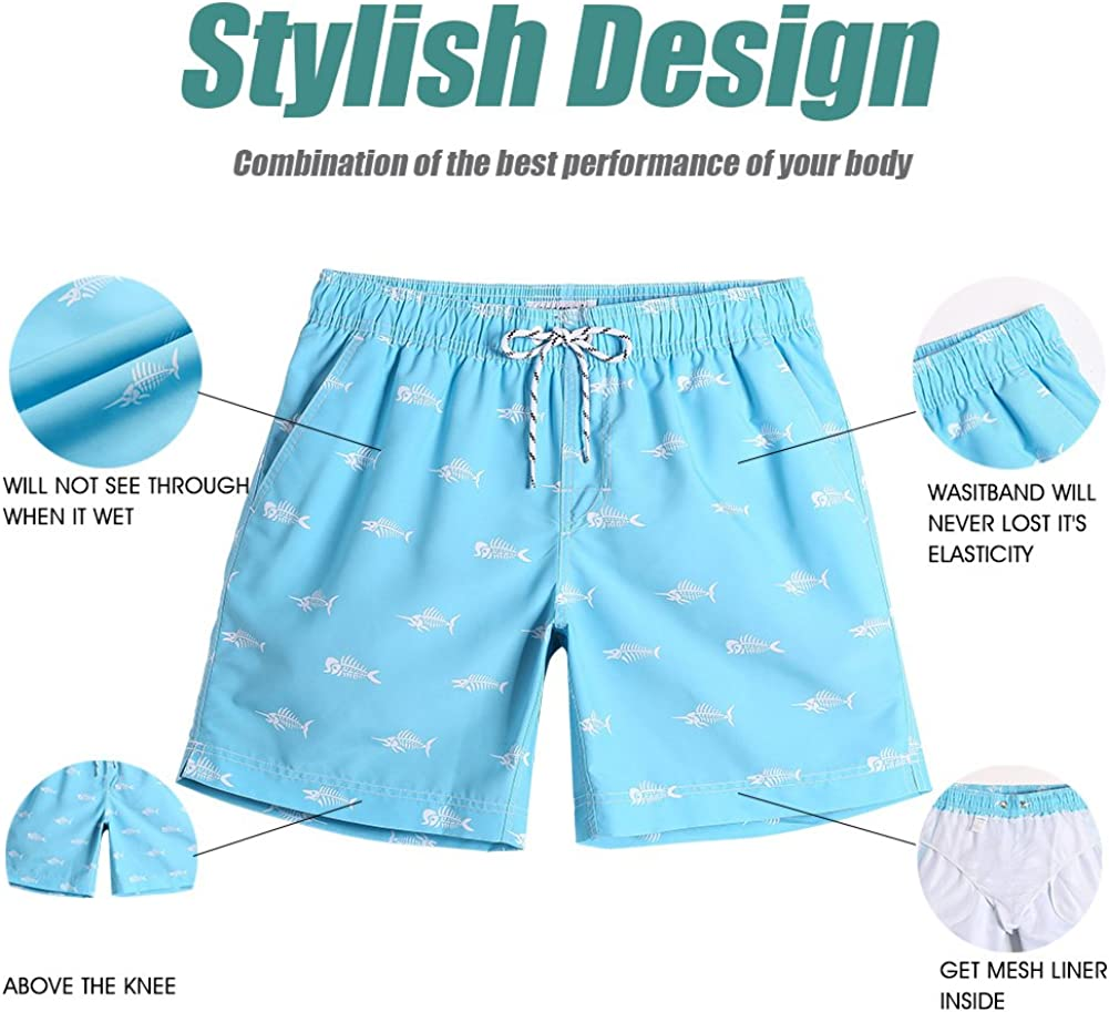 MaaMgic Mens Swim Trunks Quick Dry Swim Shorts with Mesh Lining Funny Swimwear Bathing Suits