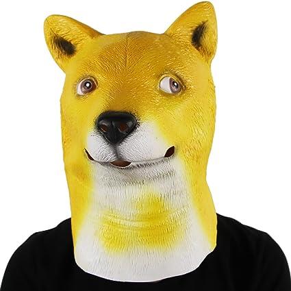 62967140574 Waylike Funny Doge Meme Head Mask Latex Dog Animal Mask Halloween Cosplay  Party